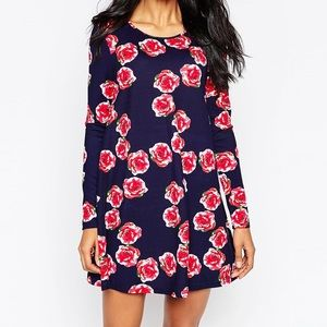 ASOS AX Paris long sleeve swing dress - navy rose